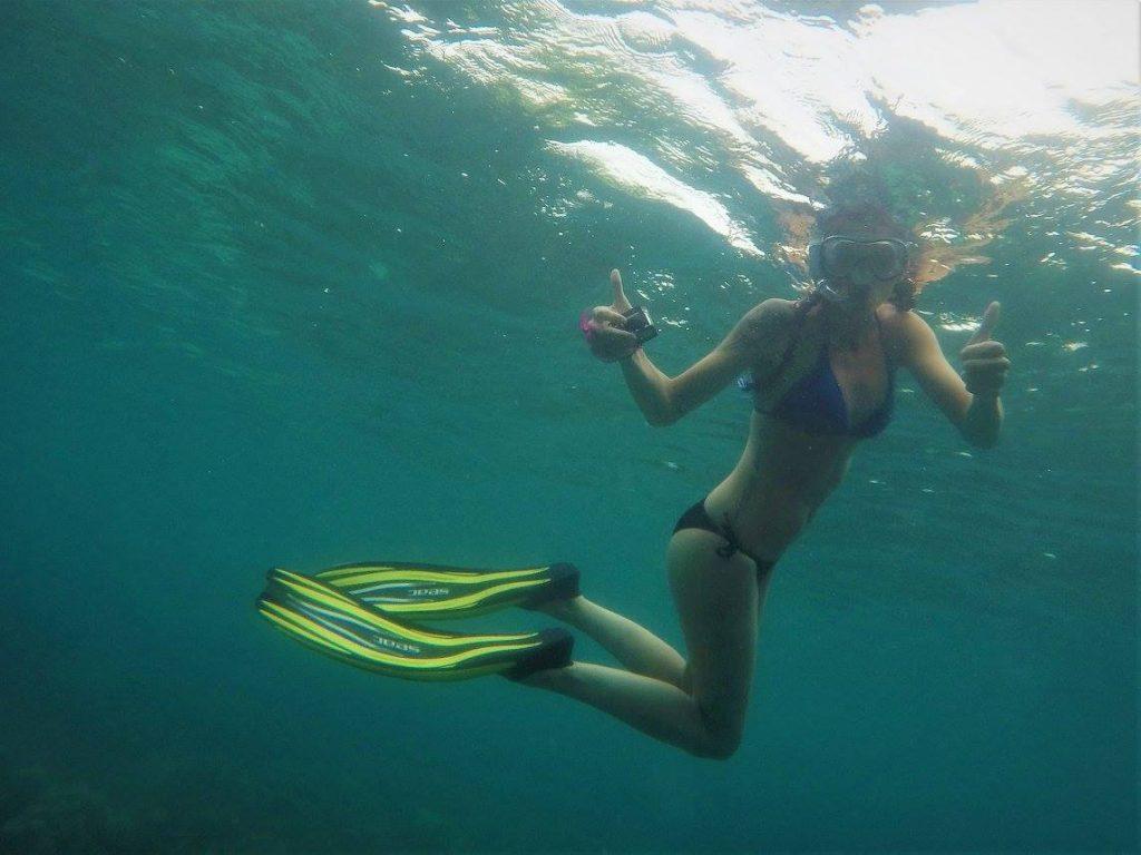 Happy Snorkeler snorkeling tour adang