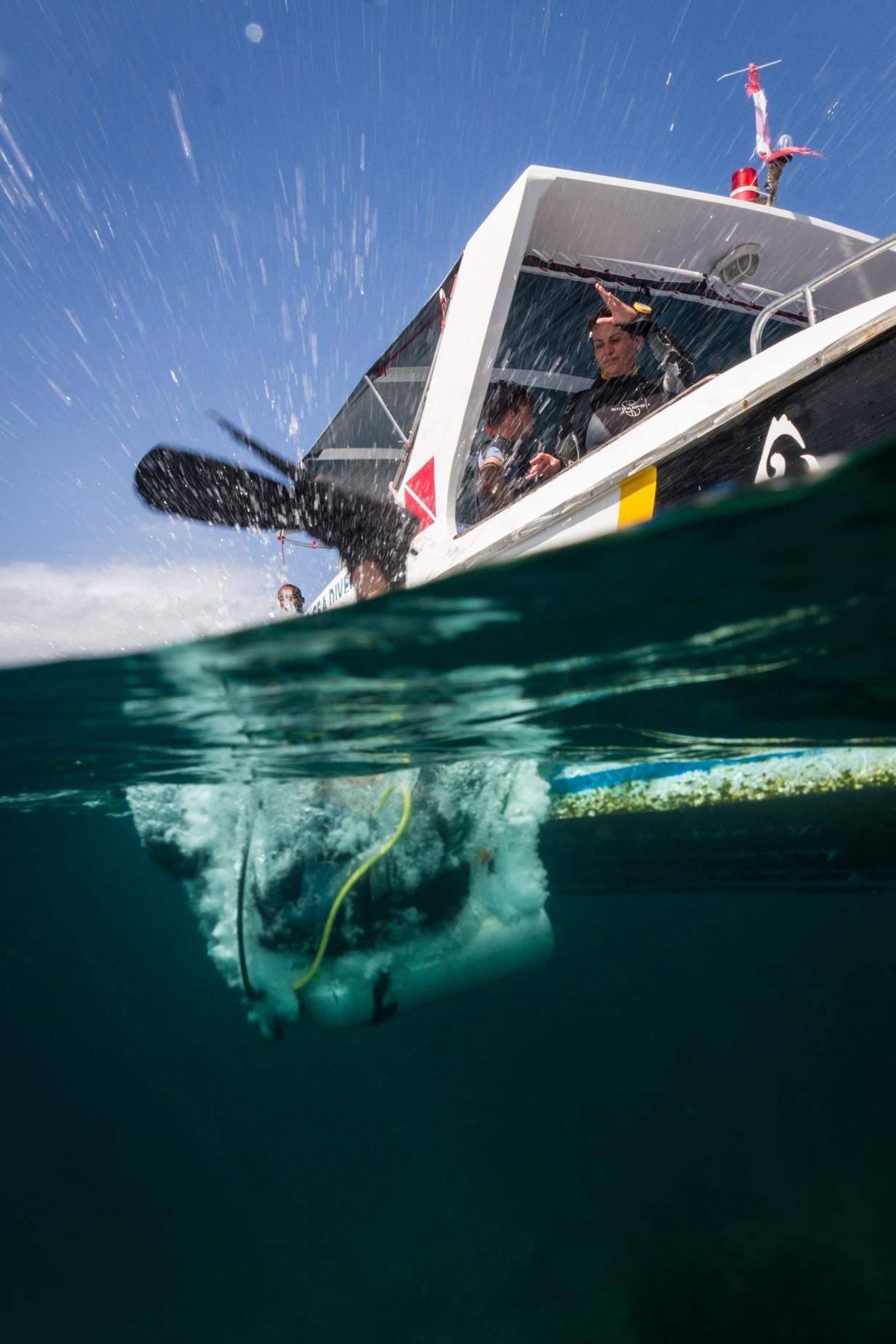 Backward role speedboat diving Koh Lipe Thailand